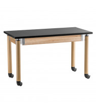 NPS Height Adjustable Mobile Phenolic Science Lab Tables, Oak Legs
