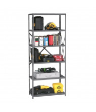 Tennsco Q-Line 6-Shelf Open Back Storage Shelving Unit in Medium Grey