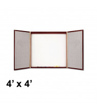 Quartet 878 4 ft. x 4 ft. Mahogany Laminate Whiteboard/Bulletin Board Conference Room Cabinet