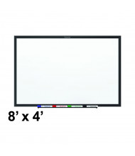 Quartet 8' x 4' Black Aluminum Frame Magnetic Painted Steel Whiteboard