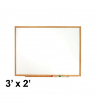 Quartet Classic Series 3 x 2 Oak Finish Frame Melamine Whiteboard