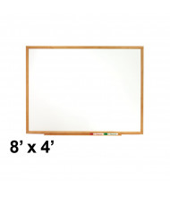Quartet Classic Series 8 x 4 Oak Finish Frame Melamine Whiteboard