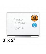 Quartet Prestige 2 Total Erase 3 x 2 Black Aluminum Frame Magnetic Grid Painted Steel Whiteboard