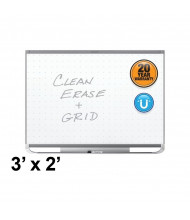 Quartet Prestige 2 Total Erase 3 x 2 Graphite Finish Magnetic Grid Painted Steel Whiteboard