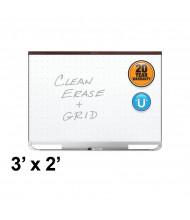 Quartet Prestige 2 Total Erase 3 x 2 Mahogany Finish Magnetic Grid Painted Steel Whiteboard