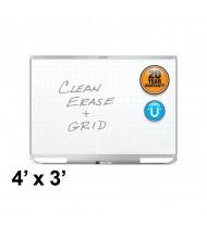 Quartet Prestige 2 Total Erase 4 x 3 Aluminum Frame Magnetic Grid Painted Steel Whiteboard