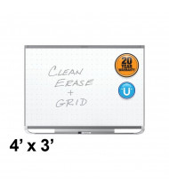 Quartet Prestige 2 Total Erase 4 x 3 Graphite Frame Magnetic Grid Painted Steel Whiteboard