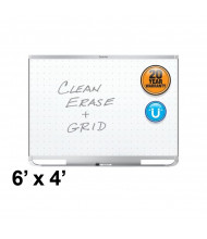 Quartet Prestige 2 Total Erase 6 x 4 Aluminum Frame Magnetic Grid Painted Steel Whiteboard