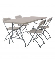 "Office Star Work Smart 72"" W x 29.5"" D 5-Piece Blow Mold Resin Folding Training Table Set"