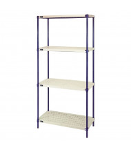 "Quantum Storage 4-Shelf 72"" H Plastic Mat Wire Shelving Units"