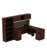 Bush Quantum QUA011CSR L-Shaped Office Desk Set with Bookcase, Right