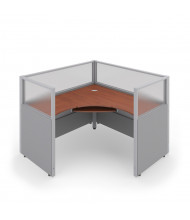 OFM RiZE 1-Unit Cubicle Workstations (Shown in grey paneling with translucent window and cherry tabletop)