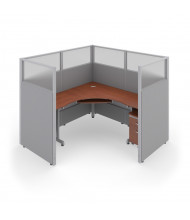 """OFM RiZe 1-Unit 63"""" H x 72"""" W Cubicle Workstation (Shown in Grey / Cherry, Translucent Window)"""