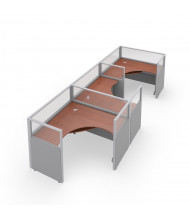 OFM RiZe 3-Unit Cubicle Workstations (Shown in grey vinyl with translucent windows and cherry tabletop)