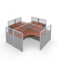 OFM RiZe 4-Unit Square Cubicle Workstations (Shown in grey vinyl with translucent windows and cherry tabletop)