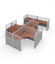 OFM RiZe 6-Unit Cubicle Workstations (Shown in grey vinyl with translucent windows and cherry tabletop)