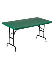 """Correll Heavy-Duty 48"""" W x 24"""" D Height Adjustable 22"""" - 32"""" Rectangular Colored Folding Table (Shown in Green)"""