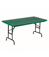 "Correll Heavy-Duty 60"" W x 30"" D Height Adjustable 22"" - 32"" Rectangular Colored Folding Table (Shown in Green)"