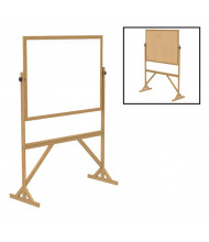 Ghent RMK34 Acrylate/Natural Cork 4 ft. x 3 ft. Wood Frame Reversible Board Stand (Both Sides Shown)