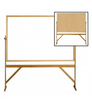 Ghent Dry Erase and Natural Cork 6' x 4' Wood Frame Reversible Whiteboard Stand