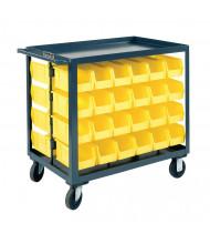 "Durham Steel 2-Shelf 1200 lb Load Bin Service Cart, 64 Bins (4"" x 5"")"