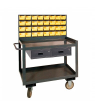 "Durham Steel 36"" x 24"" 2-Drawer 1200 lbs Capacity Steel Mobile Workbench with 32 Bins"