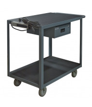 "Durham Steel 2-Shelf 1200 lb Load 24"" x 36"" Cart with Drawer and Electrical Strip (shown with polyurethane casters)"