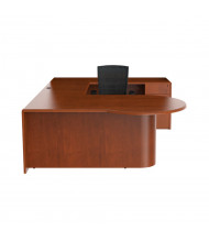 Cherryman Ruby U-Shaped Pedestal P-Shape Office Desk, Right Bridge, Paprika Cherry (Chair Is Not Included)