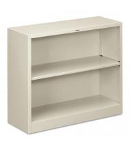 HON Brigade S30ABCQ 2-Shelf Metal Bookcase in Light Grey