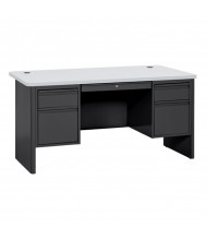 "Sandusky 700 Series 60"" W Double Pedestal Teacher Desk (Shown in Grey / Black)"
