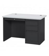"Sandusky 900 Series 48"" W Single Pedestal Teacher Desk (Shown in Grey / Black)"