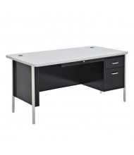 "Sandusky 600 Series 60"" W Single Pedestal Teacher Desk (Shown in Grey / Black)"