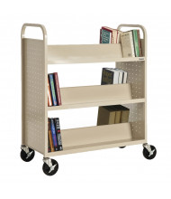 "Sandusky 39"" W 6 Double-Sided Sloped-Shelf Booktruck (Shown In Putty)"