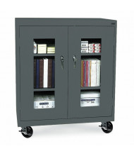 "Sandusky 48"" H Transport Counter Height Clear View Mobile Storage Cabinets, Assembled (Shown in Charcoal)"