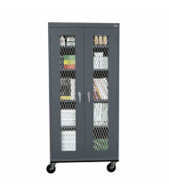 "Sandusky 36"" W x 24"" D x 78"" H Transport Expanded Metal Front Mobile Storage Cabinet, Assembled (Shown in Charcoal)"