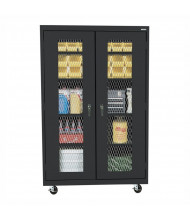 "Sandusky 46"" W x 24"" D x 78"" H Transport Expanded Metal Front Mobile Storage Cabinet, Assembled (Shown in Black)"