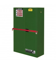 Just-Rite High Security SC29884P Self Close Two Door Pesticides Safety Cabinet with Steel Bar, 45 Gallons, Green