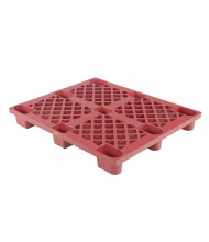 """Vestil 48"""" W x 40"""" L 3300 lb Capacity Nestable Plastic Skid, Red"""