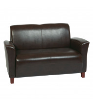 Office Star Breeze Eco-Leather Wood Loveseat
