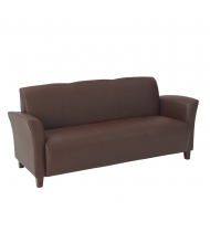 Office Star Breeze Eco-Leather Wood Sofa