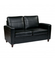 Office Star SL2812 Eco-Leather Wood Loveseat. Shown in Black.