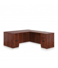 Offices to Go SL-S L-Shaped Straight Front Office Desk with Pedestals (Shown in Dark Cherry)