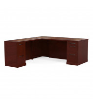 Mayline Sorrento SLLSBF72 L-Shaped Straight Front Executive Office Desk with Pedestals, Left Return (Shown in Bourbon Cherry)