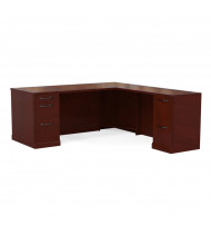Mayline Sorrento SLRSBF72 L-Shaped Straight Front Executive Office Desk with Pedestals, Right Return (Shown in Bourbon Cherry)
