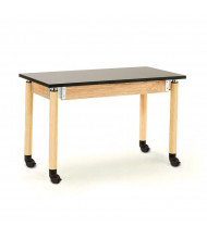 NPS Height Adjustable Chemical Resistant Mobile Science Lab Table, Oak Legs