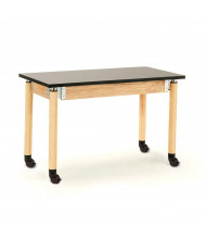 NPS Height Adjustable Chemical Resistant Mobile Science Lab Tables, Oak Legs