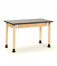 NPS Height Adjustable Chemical Resistant Science Lab Tables, Oak Legs