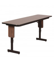 "Correll 96"" W x 18"" D Height Adjustable 22"" - 30"" 0.75"" High Pressure Top Seminar Folding Table with Panel Leg (Shown in Walnut)"
