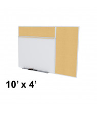 Ghent SPC410B-K Style-B 10 ft. x 4 ft. Natural Cork Tackboard and Porcelain Magnetic Combination Whiteboard