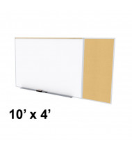 Ghent SPC410C-K Style-C 10 ft. x 4 ft. Natural Cork Tackboard and Porcelain Magnetic Combination Whiteboard